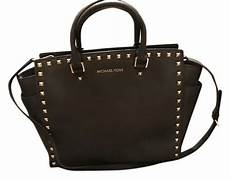 michael kors large selma chocolate brown w gold studs tote tradesy