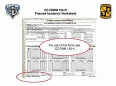 ppt cc form 104 r planned academic worksheet powerpoint