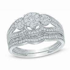 1 2 ct t w composite diamond three stone bridal in