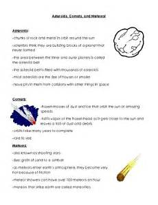 astronomy space handout asteroids comets meteors by bigredapple