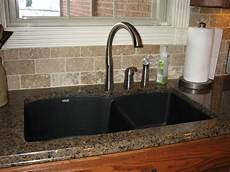 Kitchen Counter With Sink by Tropic Brown Granite With Black Silgranit Sink Kitchen