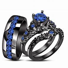 blue sapphire his wedding band ring trio black