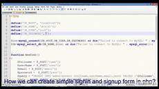 signup form signin form database connection with exle in php mysql youtube