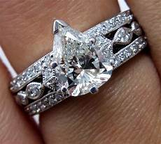 2 07ct vintage pear shaped diamond engagement wedding anniversary 18k white gold ring for the