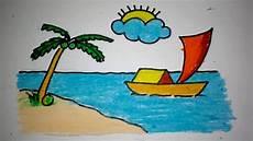 Cara Menggambar Pemandangan Pantai