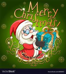 merry christmas poster with santa and gift vector image