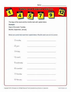 dates and capital letters worksheet activity with images