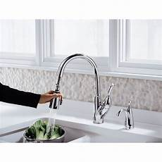 delta allora kitchen faucet delta allora single handle deck mounted kitchen faucet with pull out spray reviews wayfair