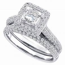 womens diamond engagement halo ring wedding band bridal set princess cut 1 23 ct ebay