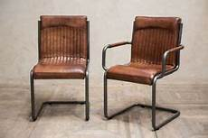 Industrial Look Dining Chair Vintage Style Leather