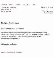 kündigung versicherung vorlage lifeline versicherung k 252 ndigungsschreiben downloaden