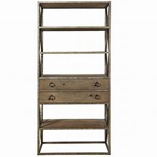 etagere metal industrial wood and iron etagere bookcase w