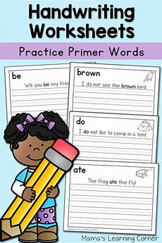 handwriting worksheets with child s name 21632 handwriting worksheets for dolch primer words mamas learning corner