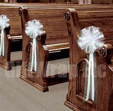 6 large white pew pull bows net tulle church aisle chair