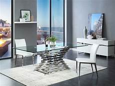 arietta 7 piece modern dining room rectangular glass top metal table chairs dining sets