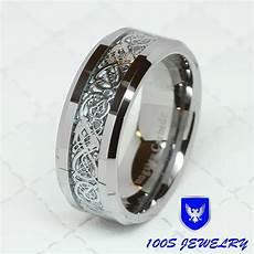 8mm tungsten carbide silver celtic dragon inlay mens ring wedding band size 8 14 ebay