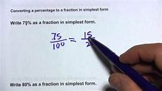 what is 80 percent as a fraction in simplest form converting a percentage to a fraction in simplest form youtube