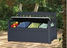banc de jardin avec coffre rangement gris anthracite