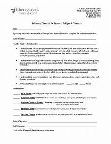 informed consent form for dental crown and bridge fillable printable online forms templates