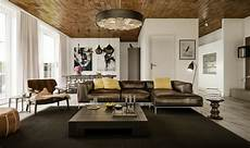 farbige akzente fuer decke und wohnzimmer ideen mit brauner gelb akzente sofakissen