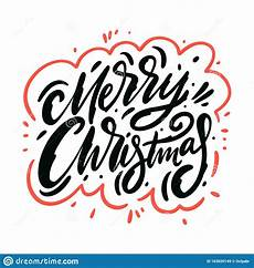 merry christmas holiday sign drawn vector lettering phrase isolated white background