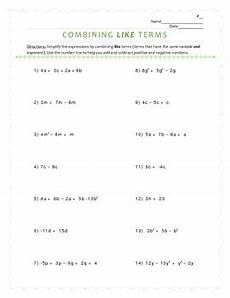 algebra worksheets combining like terms 8345 combining like terms in expressions worksheet by talking with my