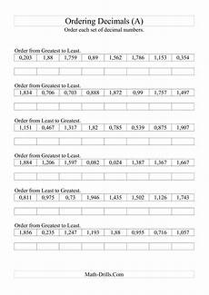 learning decimals worksheets 7201 sorting ordering decimals to thousandths a