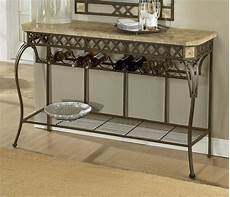 server console wrought iron table w fossil stone top brookside furniture iron table and
