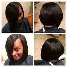 quick weave bob with feathered bak weave hairstyles