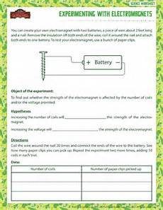 experimenting with electromagnets printable science worksheets 6th grade science science