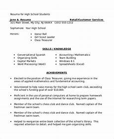 free 8 sle high school student resume templates in ms