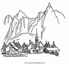 Ausmalbilder Urlaub Berge Malvorlagen Landschaften Gratis Bilder X13 Ein