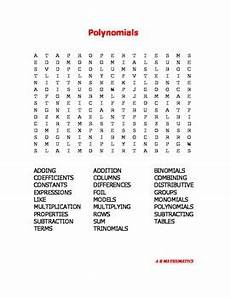 polynomials word search by a r mathematics teachers pay teachers
