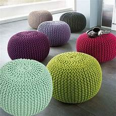 Soft Poufs Made Of Knitted Ribbon Yarn Cozy Poufs