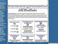 a2zwordfinder com a2z wordfinder word pattern matching for the scrabble game literati