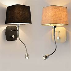 aliexpress com buy hotel bedside wall sconce with led reading light bedroom light fabric