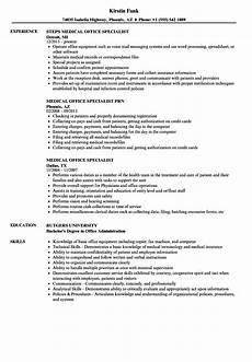 medical office specialist resume sles velvet