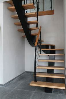 238 Le Drennec Acier Escalier Bois Un Quart Tournant H 234 Tre