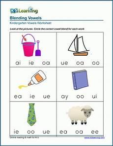 vowel blends worksheets for preschool and kindergarten k5 learning