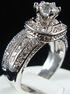2 pcs vintage halo cz solitaire with accents engagement wedding ring 18k gp ebay