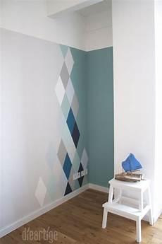 Dieartigeblog Wandgestaltung Rauten In Blau Und