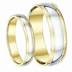 9ct two colour yellow and white gold his hers wedding