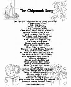 bluebonkers the chipmunk song free printable