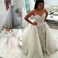 new sweetheart lace mermaid wedding dress detachable overskirt bridal gown bride ebay
