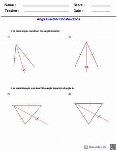 angle bisectors constructions worksheets geometry worksheets geometry math worksheets