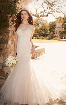 picture of wedding gown fit and flare wedding dress with tulle skirt essense of