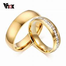 vnox gold color wedding bands ring for women men jewelry