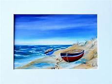 tableau bord de mer barques sur la plage par peintures