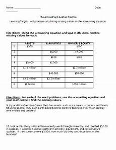 the accounting equation practice worksheet by getting down to business