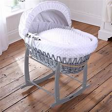 grey wicker white dimples moses basket rocking stand leith pram centre